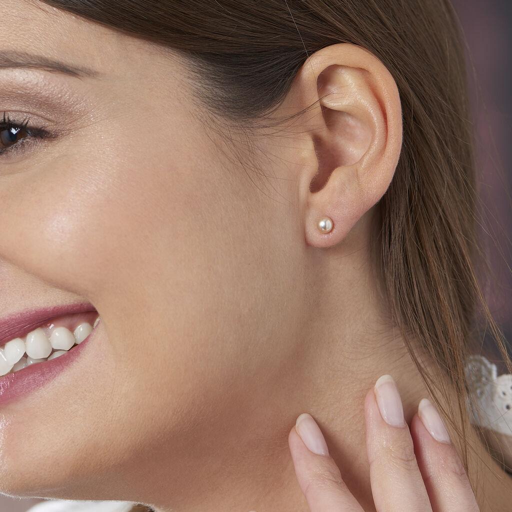 Boucles D'oreilles Puces Ursulina Or Jaune Perle De Culture - Clous d'oreilles Femme   Histoire d'Or