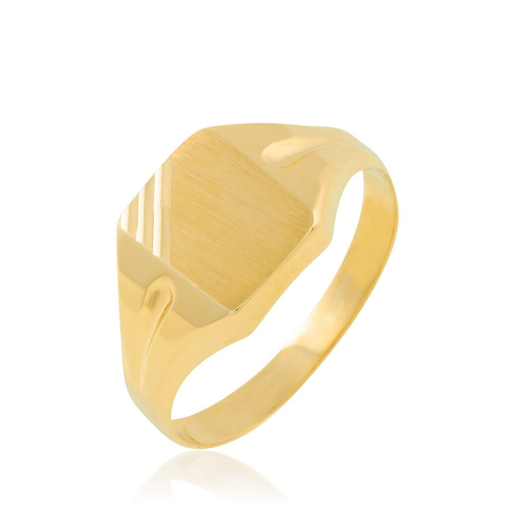 Chevalière Carree Diamantee Or Jaune