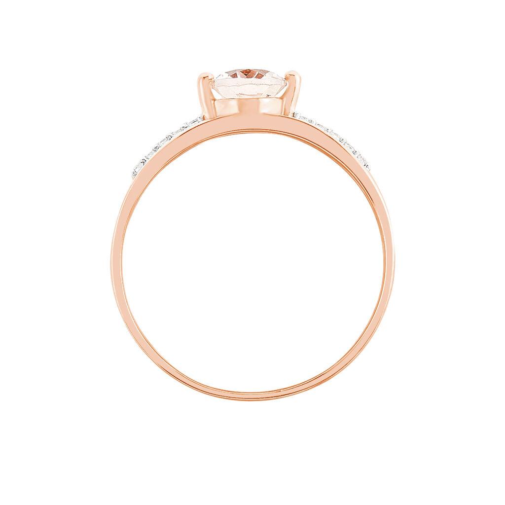 Bague Milna Or Rose Morganite Et Diamant - Bagues solitaires Femme   Histoire d'Or