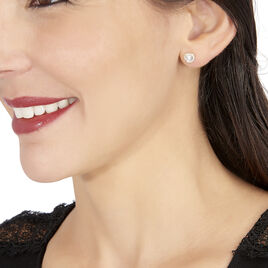 Boucles D'oreilles Puces Aymane Or Jaune Oxyde De Zirconium - Boucles d'Oreilles Coeur Femme | Histoire d'Or