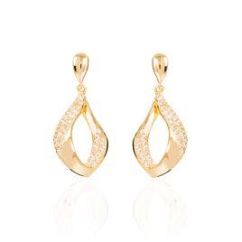 Boucles D'oreilles Pendantes Mai-lee Plaque Or Oxyde De Zirconium - Boucles d'oreilles fantaisie Femme   Histoire d'Or