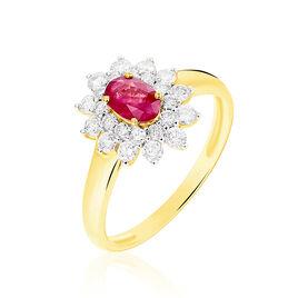 Bague Ivan Or Jaune Rubis Et Diamant - Bagues solitaires Femme | Histoire d'Or