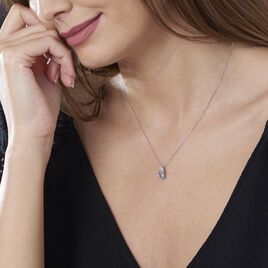Collier Or Blanc Topaze Et Diamants 42cm - Bijoux Femme | Histoire d'Or