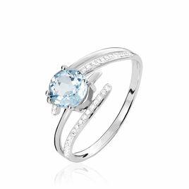 Bague Or Blanc Topaze Et Diamant - Bagues avec pierre Femme | Histoire d'Or