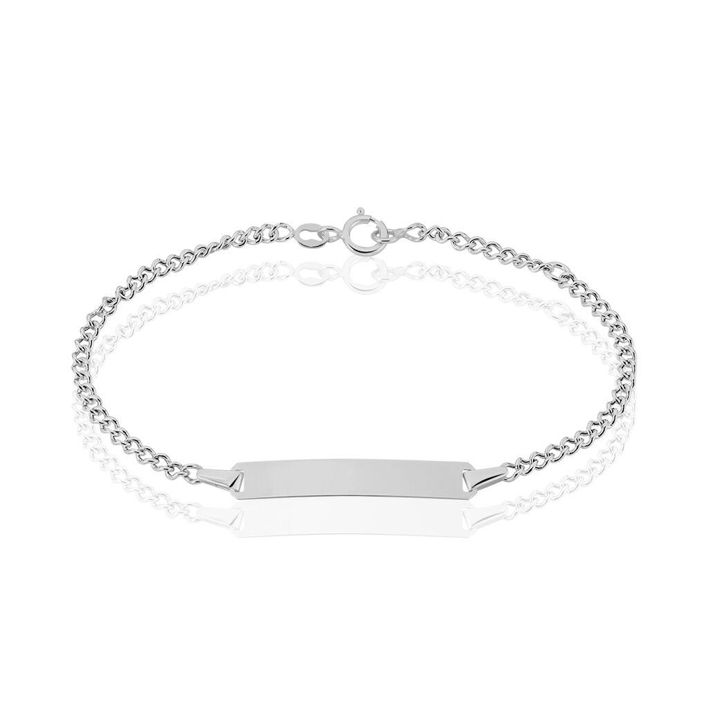 Bracelet Identité Etheline Maille Gourmette Or Blanc - Bracelets Communion Enfant | Histoire d'Or