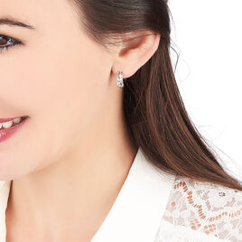 Créoles Sybilles Argent Blanc - Boucles d'oreilles créoles Femme | Histoire d'Or