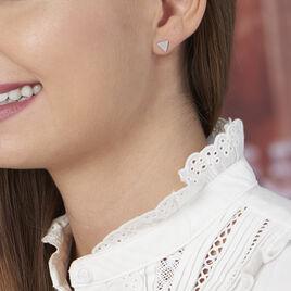 Boucles D'oreilles Puces Brendana Argent Blanc Oxyde De Zirconium - Boucles d'oreilles fantaisie Femme   Histoire d'Or