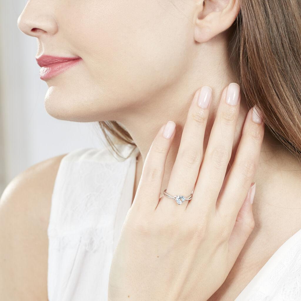 Bague Clothilde Or Blanc Topaze Et Oxyde De Zirconium - Bagues Coeur Femme | Histoire d'Or