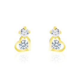 Boucles D'oreilles Pendantes Ludyvine Or Jaune Oxyde De Zirconium - Boucles d'Oreilles Coeur Femme | Histoire d'Or