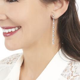 Boucles D'oreilles Pendantes Joanie Argent Blanc Oxyde De Zirconium - Boucles d'oreilles pendantes Femme | Histoire d'Or