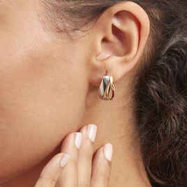 Créoles Ayliz Ovales Fil Vrille Or Bicolore - Boucles d'oreilles créoles Femme   Histoire d'Or