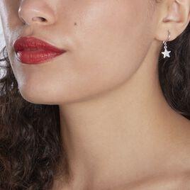 Créoles Elvyn Argent Blanc - Boucles d'Oreilles Etoile Femme | Histoire d'Or