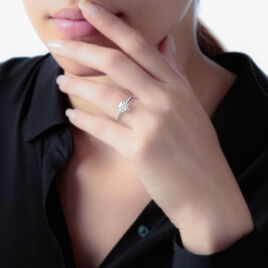 Bague Beline Or Blanc Oxyde De Zirconium - Bagues solitaires Femme | Histoire d'Or