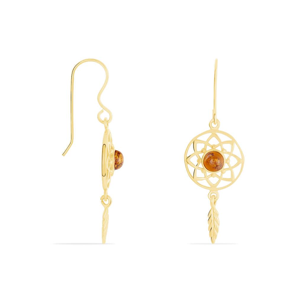 Boucles D'oreilles Pendantes Lona Argent Jaune Ambre - Boucles d'Oreilles Attrape rêves Femme   Histoire d'Or