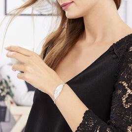 Bracelet Jonc Halya Argent Blanc - Bracelets Plume Femme | Histoire d'Or