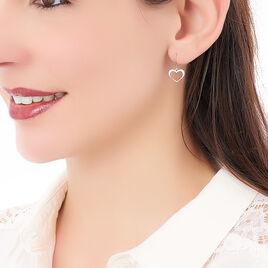Boucles D'oreilles Pendantes Cosima Argent Blanc - Boucles d'Oreilles Coeur Femme | Histoire d'Or