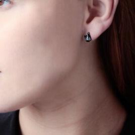Boucles D'oreilles Puces Aelya Or Blanc Oxyde Et Céramique - Clous d'oreilles Femme | Histoire d'Or
