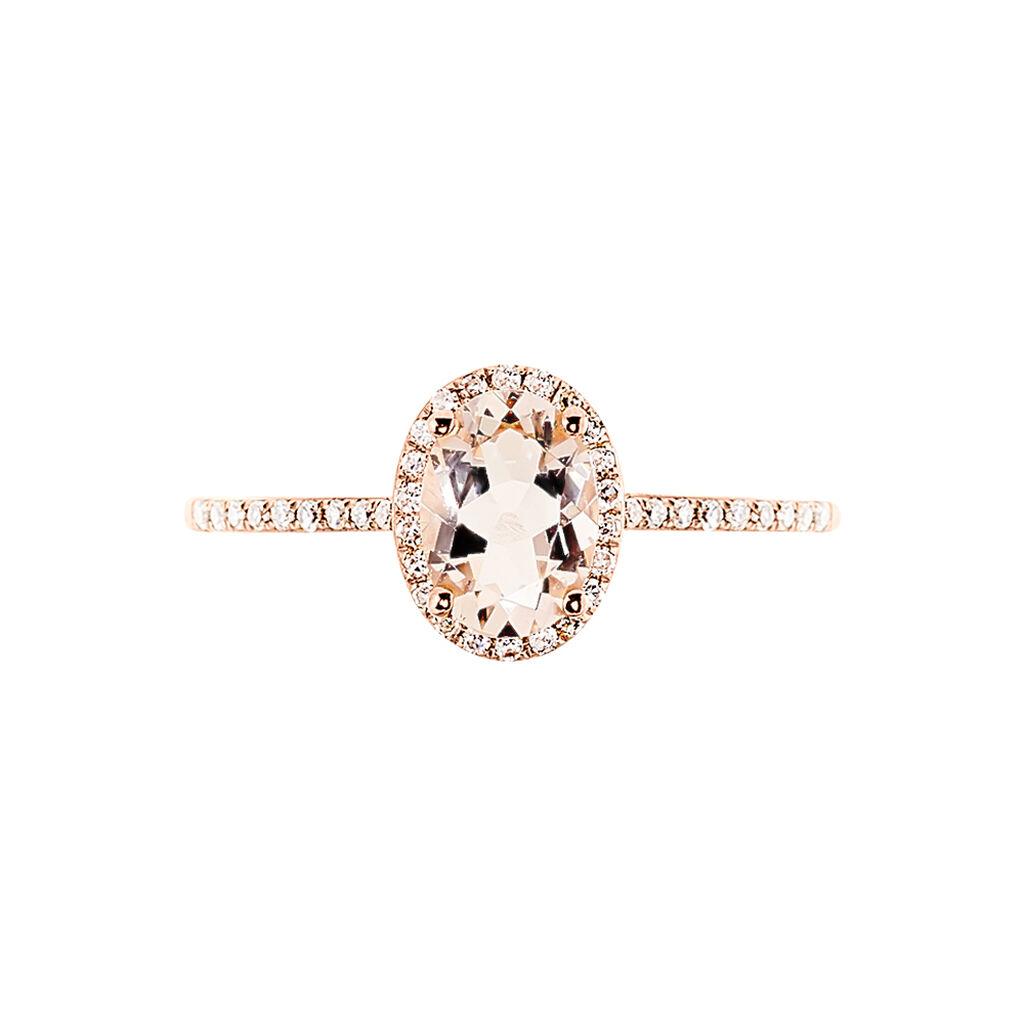 Bague Solitaire Deana Or Rose Morganite Et Diamant - Bagues avec pierre Femme | Histoire d'Or