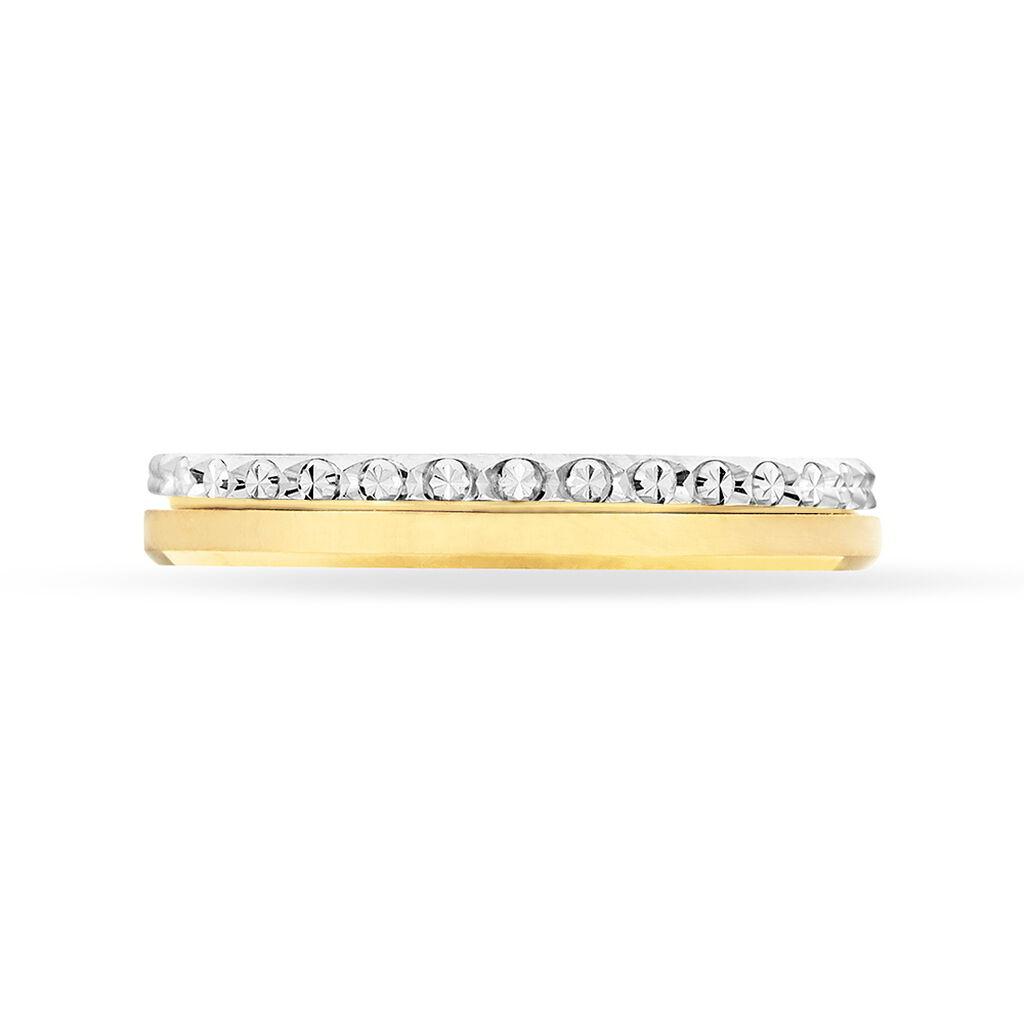 Alliance Fantaisie Diamantee Ruban Plat Or Bicolore - Alliances Femme | Histoire d'Or