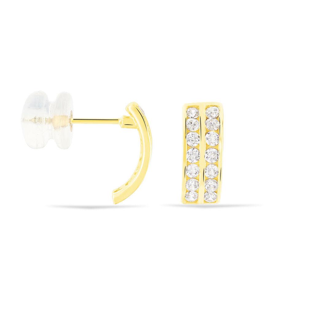 Créoles Jacobee Rondes Or Jaune Oxyde De Zirconium - Boucles d'oreilles créoles Femme | Histoire d'Or