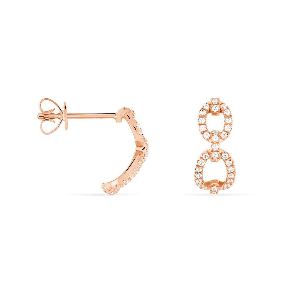Créoles Anfal Rondes Or Rose Oxyde De Zirconium - Boucles d'oreilles créoles Femme | Histoire d'Or