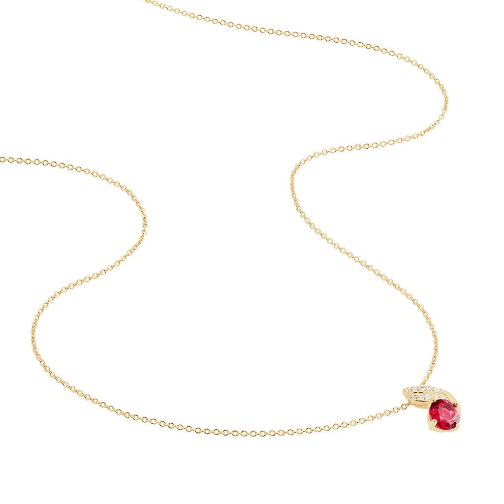 Collier Tyana Plaque Or Jaune Pierre De Synthese Et Oxyde De Zirconium - Colliers fantaisie Femme   Histoire d'Or