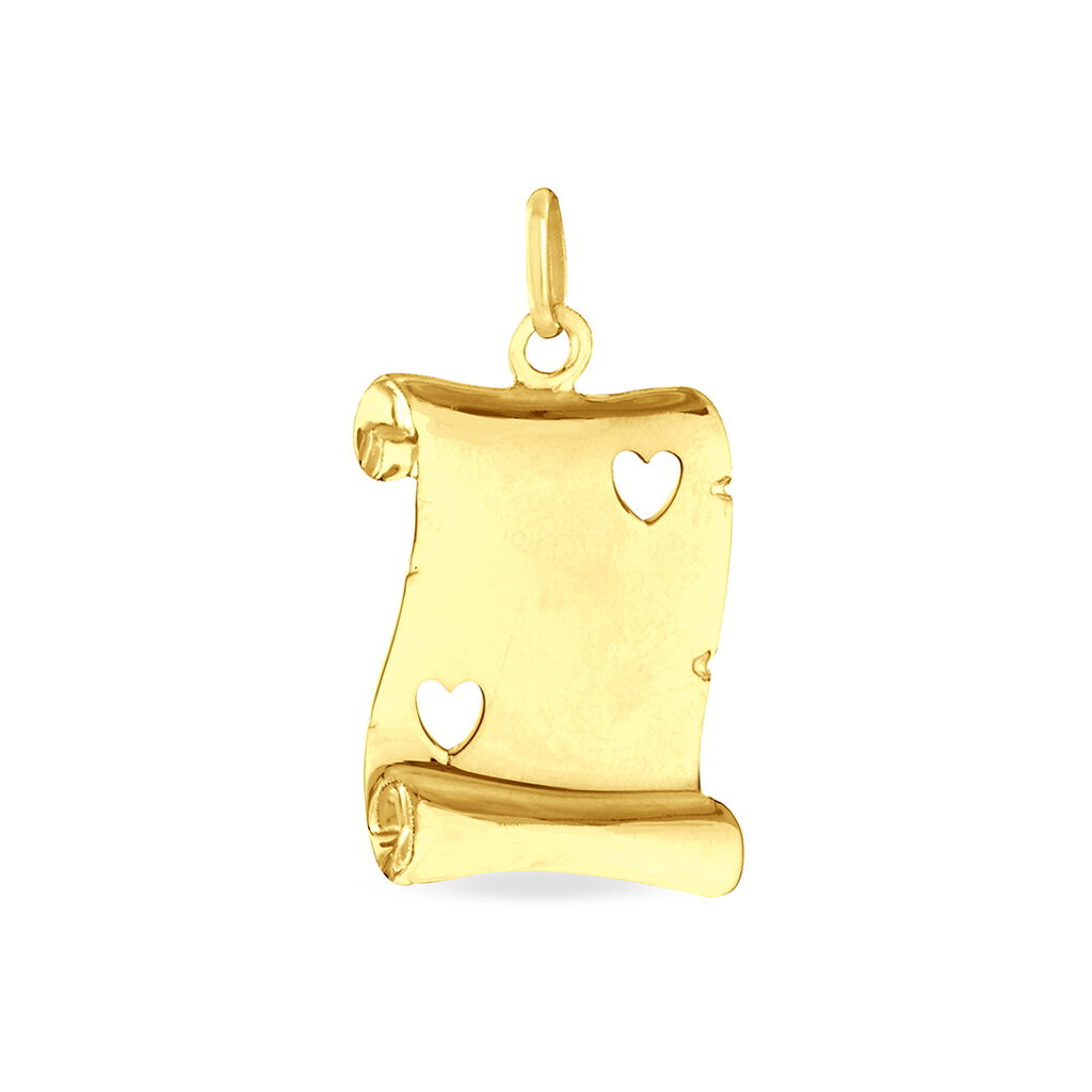 Pendentif Sirona Parchemin Message Or Jaune