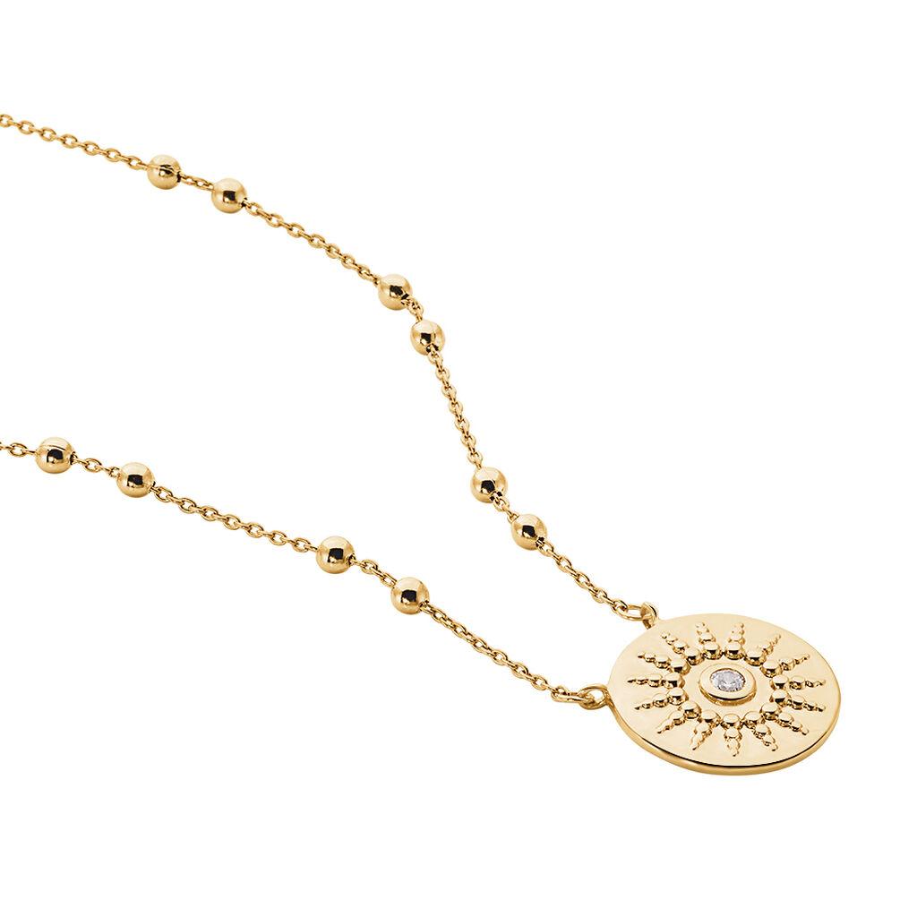 Collier Artea Plaque Or Jaune Oxyde De Zirconium - Colliers fantaisie Femme | Histoire d'Or