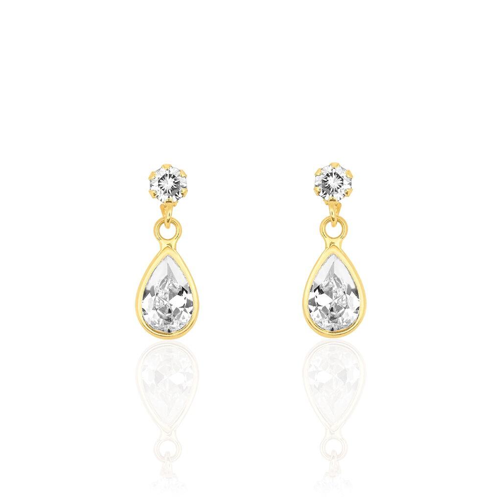 Boucles D'oreilles Pendantes Lika Or Jaune Oxyde De Zirconium - Boucles d'oreilles pendantes Femme   Histoire d'Or