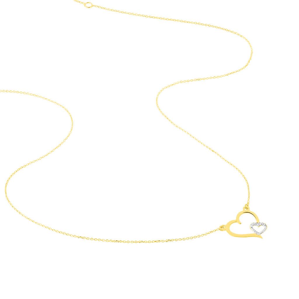 Collier Estello Or Bicolore - Colliers Coeur Femme   Histoire d'Or