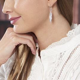 Boucles D'oreilles Pendantes Violk Argent Blanc - Boucles d'Oreilles Plume Femme | Histoire d'Or