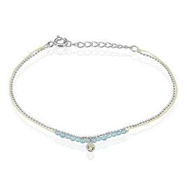 Bracelet Rafaela Argent Blanc Agate Et Oxyde De Zirconium - Bracelets cordon Femme | Histoire d'Or