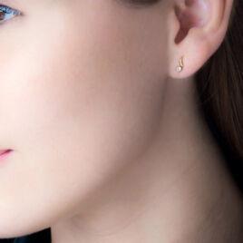 Boucles D'oreilles Puces Beryl Virgule Or Jaune Oxyde De Zirconium - Clous d'oreilles Femme | Histoire d'Or