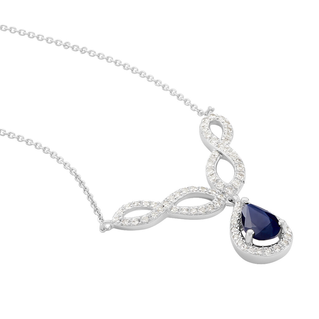 Collier Sissi Or Blanc Saphir Diamant - Colliers Infini Femme   Histoire d'Or