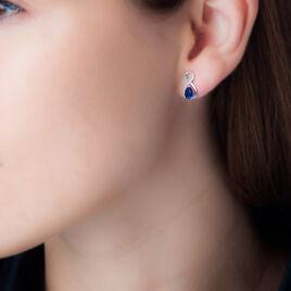 Boucles D'oreilles Puces Odessa Or Blanc Saphir Et Diamant - Clous d'oreilles Femme | Histoire d'Or