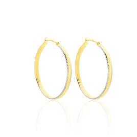 Créoles Abella Diamantee Fil Plat Or Bicolore - Boucles d'oreilles créoles Femme | Histoire d'Or