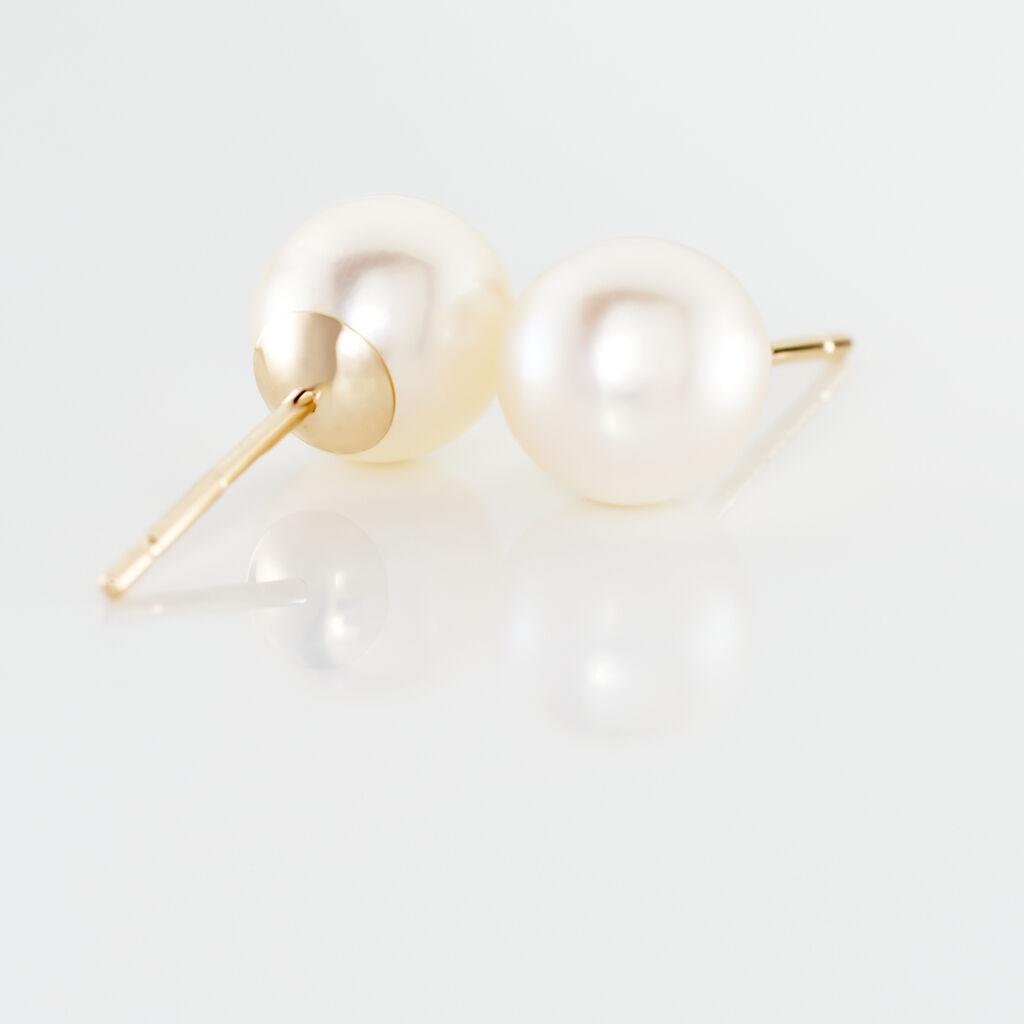 Boucles D'oreilles Puces Suki Rondes Nacres Or Jaune Perle De Culture - Clous d'oreilles Femme   Histoire d'Or