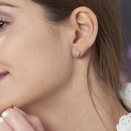 Boucles D'oreilles Puces Smita Argent Rose Oxyde De Zirconium - Boucles d'oreilles fantaisie Femme   Histoire d'Or