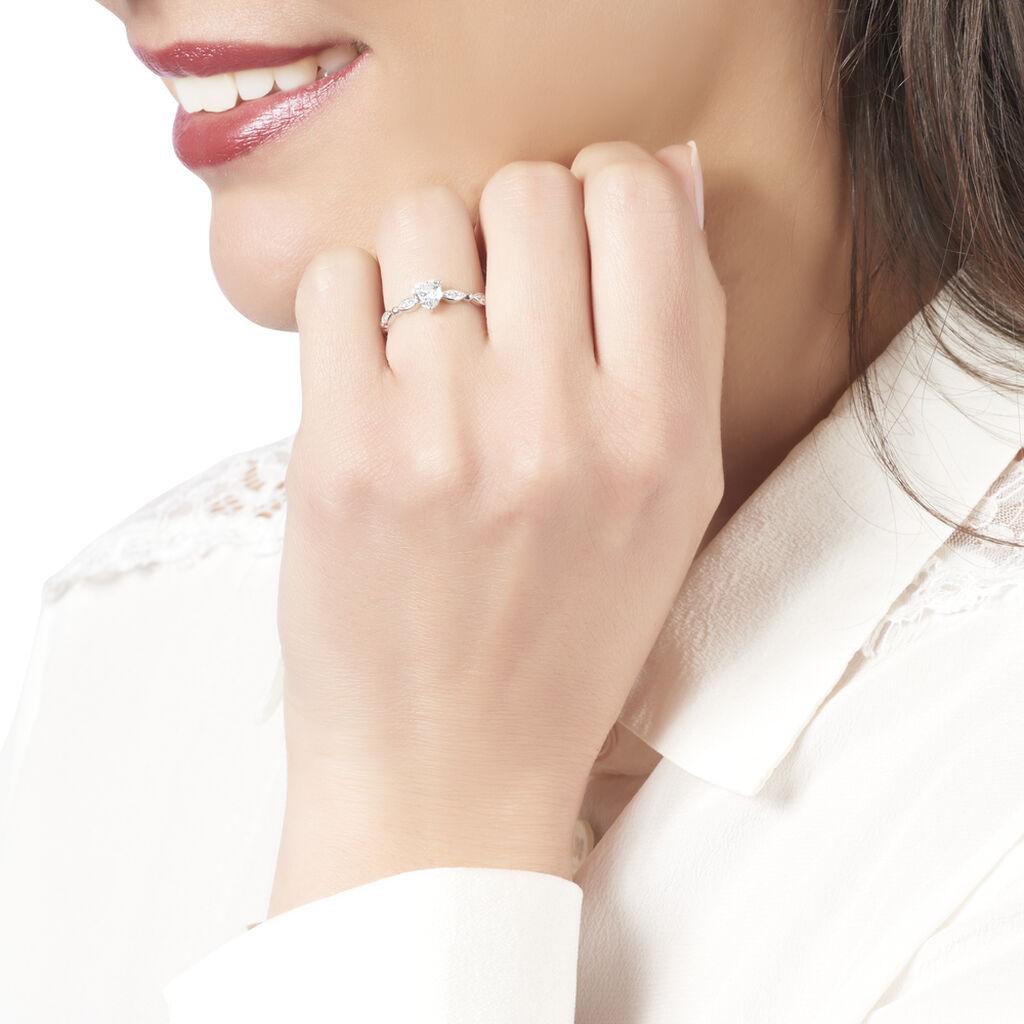 Bague Solitaire Anysia Or Blanc Oxyde De Zirconium - Bagues Coeur Femme   Histoire d'Or