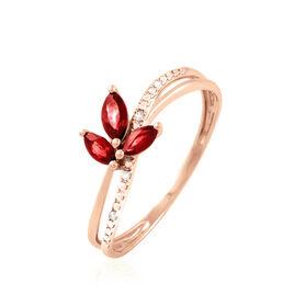 Bague Or Rose Maura Rubis - Bagues avec pierre Femme   Histoire d'Or