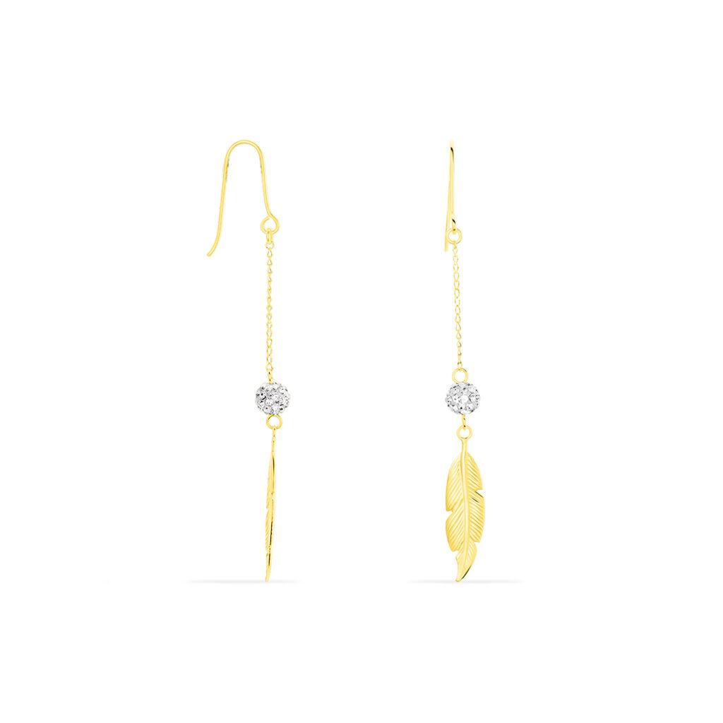 Boucles D'oreilles Pendantes Powoo Or Jaune Strass - Boucles d'Oreilles Plume Femme | Histoire d'Or