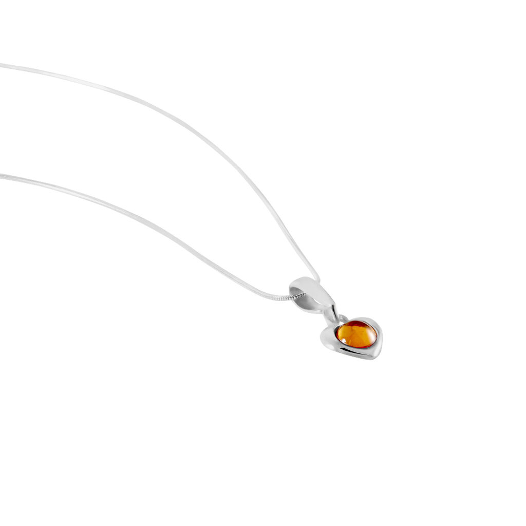 Collier Marie-luciaae Argent Blanc Ambre - Colliers Coeur Femme   Histoire d'Or