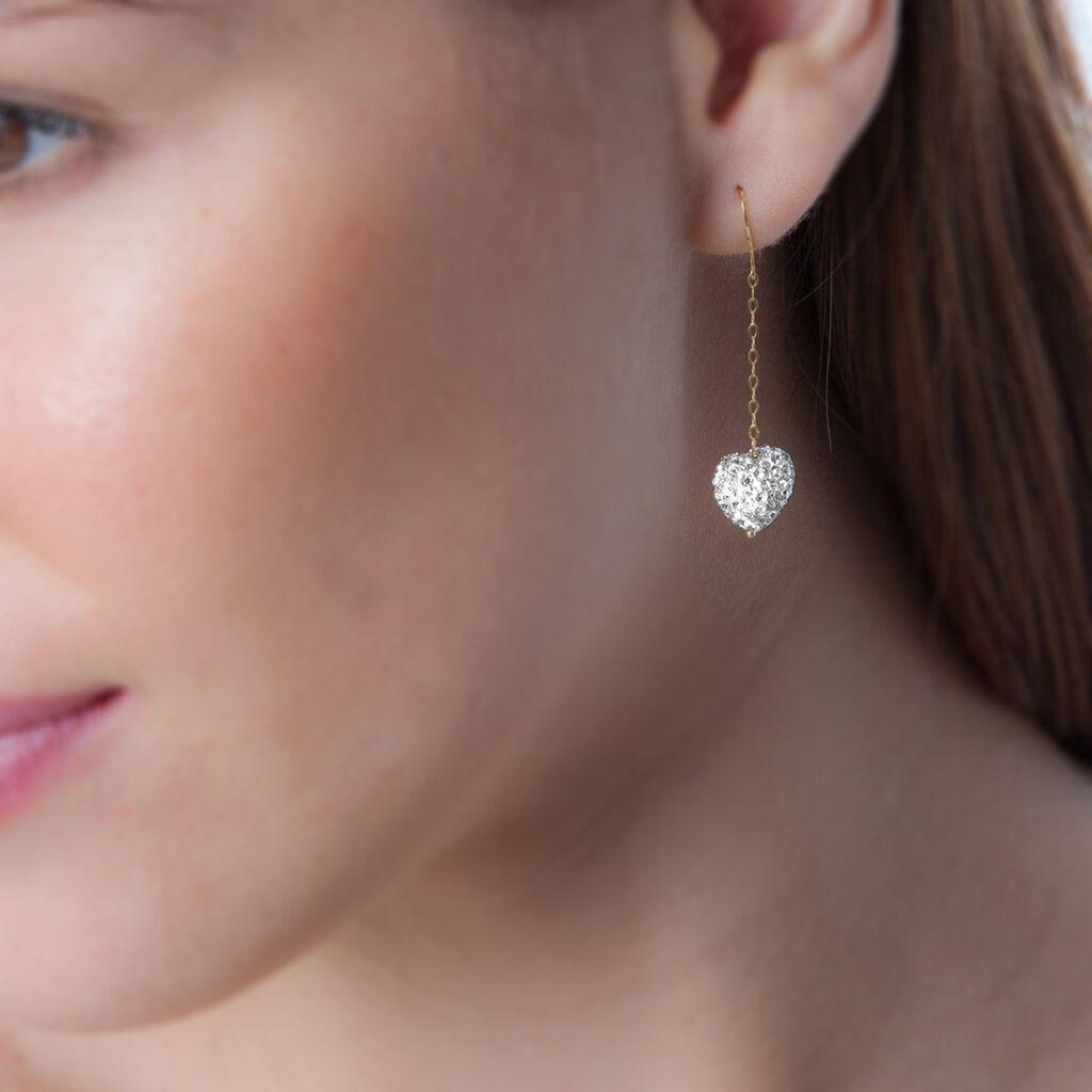 Boucles D'oreilles Pendantes Messaouda Or Jaune Strass - Boucles d'Oreilles Coeur Femme | Histoire d'Or