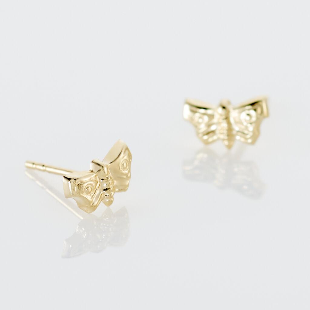 Boucles D'oreilles Puces Bartholomee Papillon Or Jaune - Boucles d'Oreilles Papillon Femme | Histoire d'Or