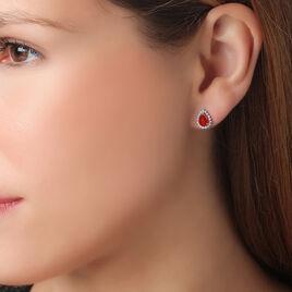 Boucles D'oreilles Puces Or Jaune Rubis Et Diamant - Clous d'oreilles Femme | Histoire d'Or