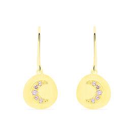 Boucles D'oreilles Pendantes Flauriane Or Jaune Oxyde De Zirconium - Boucles d'Oreilles Lune Femme | Histoire d'Or