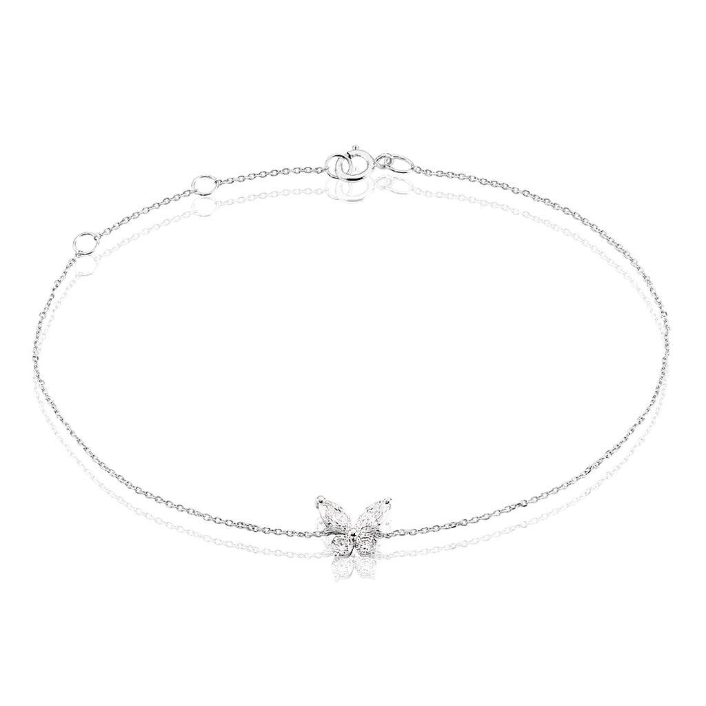 Bracelet Kesia Or Blanc Oxyde De Zirconium - Bracelets Papillon Femme | Histoire d'Or