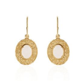 Boucles D'oreilles Pendantes Linna Plaque Or Jaune Pierre De Lune - Boucles d'oreilles fantaisie Femme | Histoire d'Or
