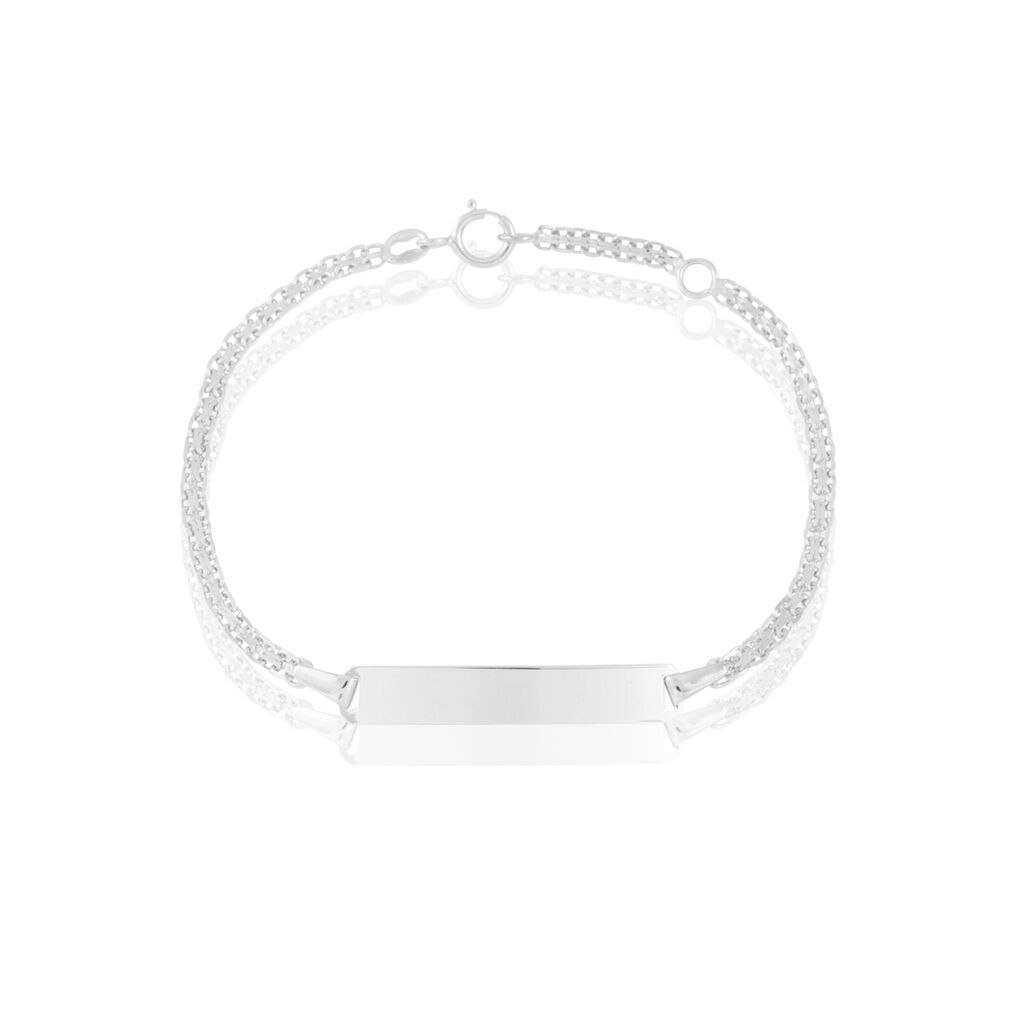 Bracelet Identité Euphenia Maille Bismark Or Blanc - Bracelets Communion Enfant | Histoire d'Or