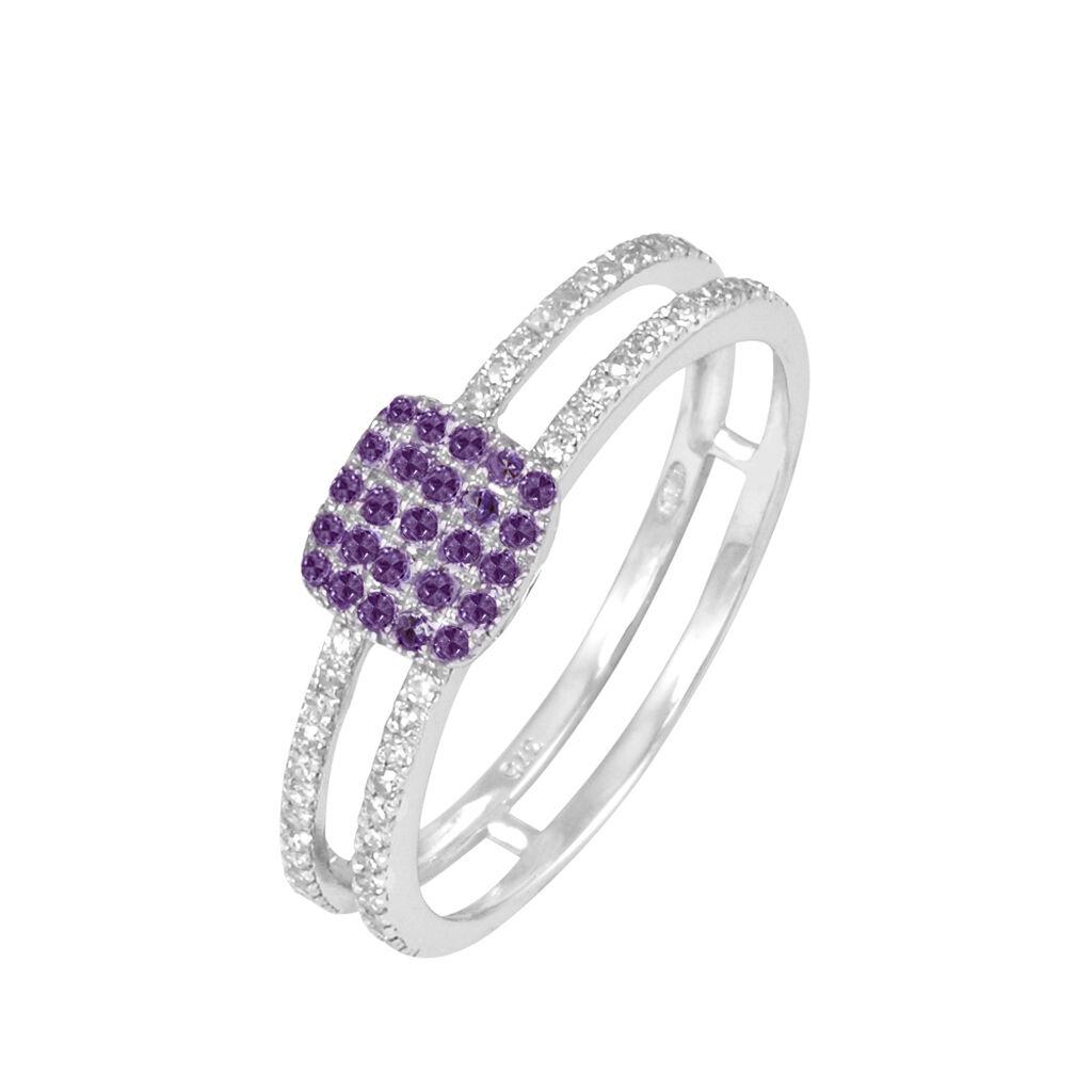 Bague Aude Or Blanc Amethyste Et Diamant - Bagues avec pierre Femme | Histoire d'Or